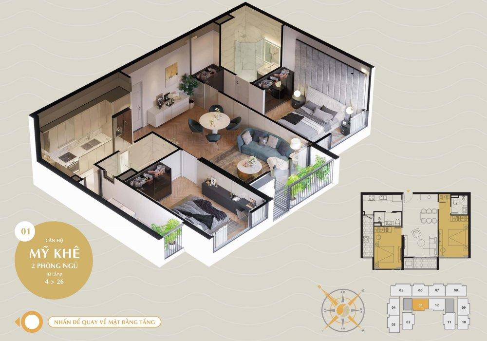 Thiết kế căn hộ Sơn Trà The SANG Residence