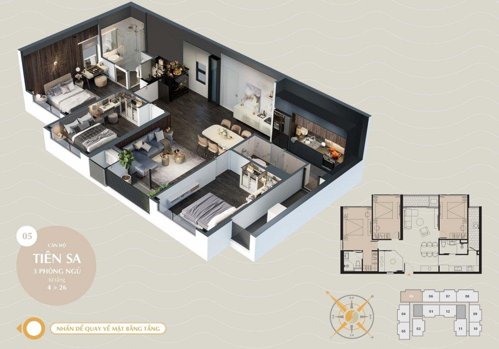 Thiết kế căn hộ Tiên Sa của dự án The SANG Residence