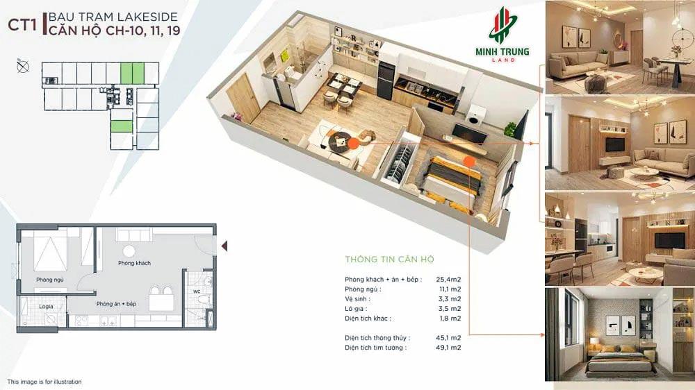 Mẫu căn hộ 1 Phòng ngủ, Diện tích 45-49m2