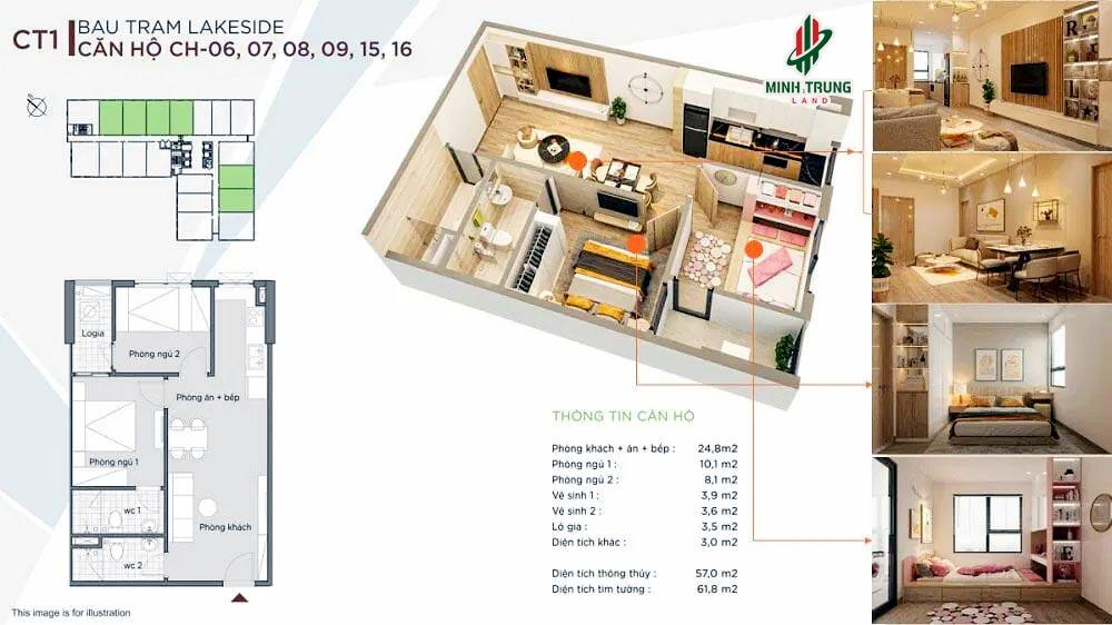 Mẫu căn hộ 2 Phòng ngủ, Diện tích 57-61m2