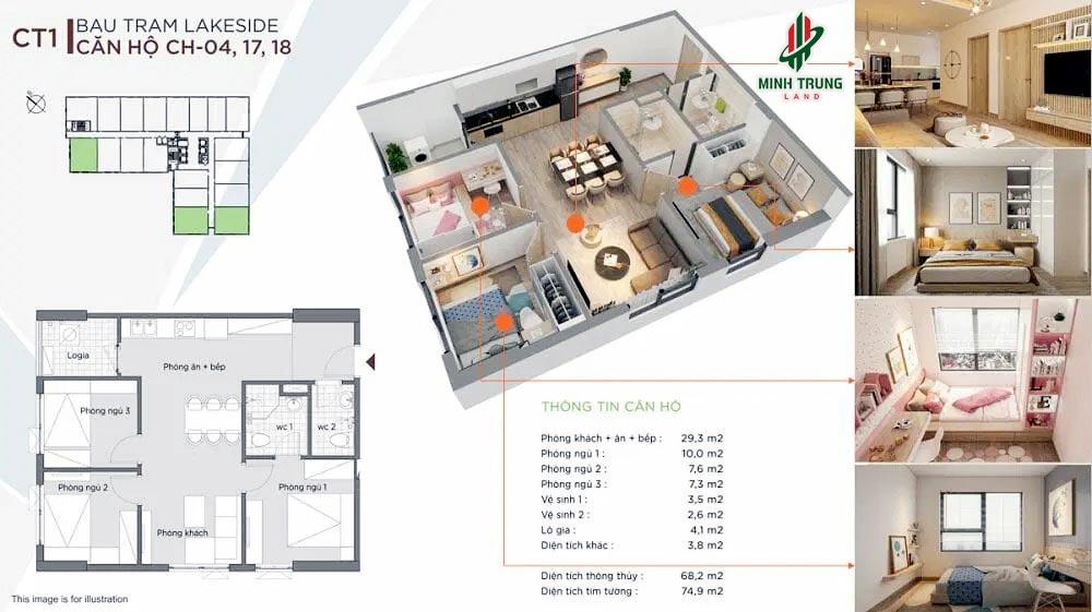 Mẫu căn hộ 3 Phòng ngủ, Diện tích 68-71m2